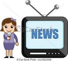 Drawing Art Of Cute Young Female News Reporter Girl Presenting On TV Vector Illustration