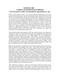 Statement New Samplef Purpose For Graduate School Pdf Mba Students