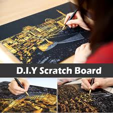 DIY Scratch BoardScratch Night View Anti Stress Off Art TheraphyColouring