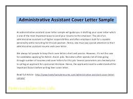 Sample Of Cover Letters For Administrative Assistants