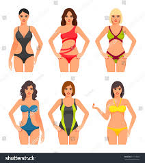 Women Swimsuit Beautiful Girls Bathing Suits Stock Vector