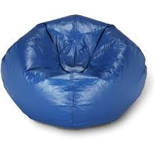 96 Round Vinyl Shiny Bean Bag Blue
