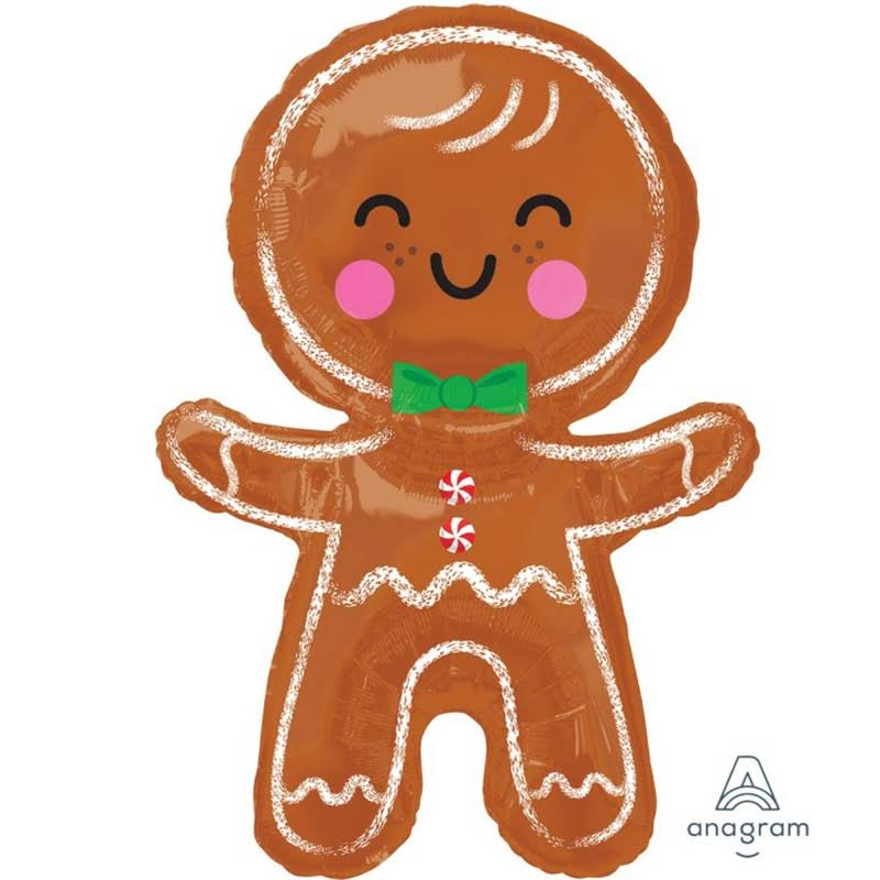 Super Shape Happy Gingerbread Man Foil Balloon - 55cm x 78cm