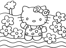 Happy Hello Kitty Christmas Coloring Page