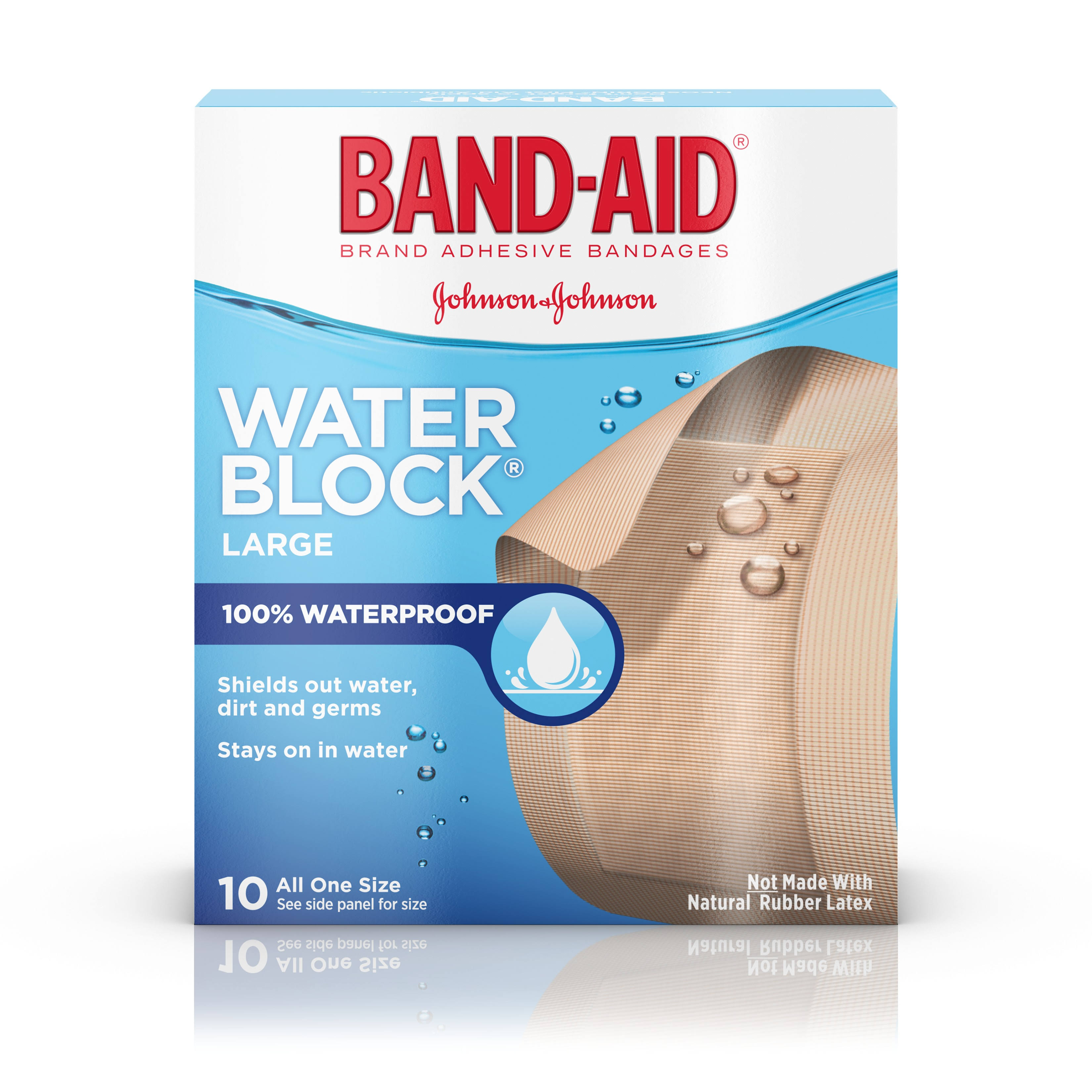 Band-Aid Water Block Plus Adhesive Bandages - Large, 10 Bandages