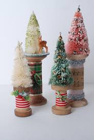 Vintage Wooden Spools With Bottle Brush Christmas Trees Decoration By SullivanandWallace On Etsy