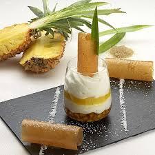 dessert ananas noix de coco blanc manger d ananas confit émulsion noix de coco