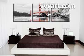 Bedroom Decor 3 Piece Wall Art City Huge Pictures Landscape Black