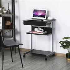 details zu schreibtisch computertisch pc tisch laptoptisch mit rollen für büro wohnzimmer