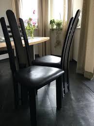 esszimmer stühle buche lack schwarz sitz leder schwarz