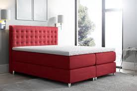 boxspringbett schlafzimmerbett bett baros stoff rot 200x200cm
