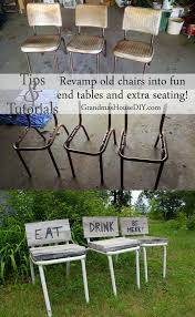 Make Outdoor End Table by How To Convert Old Chairs Into Fun End Tables And Extra Seating