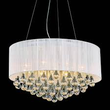 Round Modern Chandelier Lighting With White Drum Shades And Hanging Crystal For Bedroom Decoration Ideas