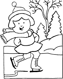 Winter Coloring Pages Of Girl Doing Ice Skating