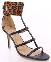 amazon com leopard caged open toe strappy sandal heels fourever