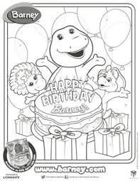 Happy Birthday Barney Printable Coloring Page