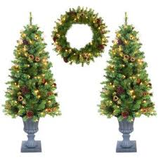 3 Piece 4 Green Artificial Christmas Tree With Clear Lights Set
