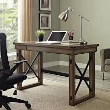 DeskRustic Corner Desk Reception Furniture Desktop Computer Stand Small Black With Drawers