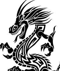 Black China Dragon Paper Cut Pattern Vector 01