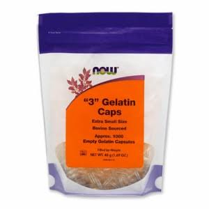 Now Healthy Food Gelatin Caps - 1000 Empty Capsules, X-Small