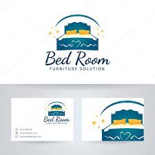 logo chambre logo de vectoriel meubles lit chambre avec modèle de carte de