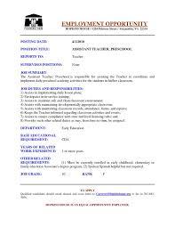resume description of preschool preschool resume early childhood resume daycare