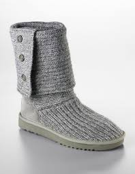 ugg ladies cardy knit flat boots in gray lyst