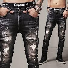 For Men Denim Black Jeans Pants Hiphop Swag Stretch Slim Fit Man Ripped