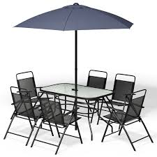 8PCS Patio Garden Set Furniture 6 Folding Chairs Table With Umbrella Gray  New Brompton Metal Garden Rectangular Set Fniture Compare 56 Bistro Black Wrought Iron Cafe Table And Chairs Pana Outdoors With 2 Pcs Cast Alinium Tulip White Vintage Patio Ding Buy Tables Chairsmetal Gardenfniture Italian Terrace Fniture Archives John Lewis Partners Ala Mesh 6seater And Bronze Home Hartman Outdoor Products Uk Our Pick Of The Best Ideal Royal River Oak 7piece Padded Sling Darwin Metal 6 Seat Garden Ding Set