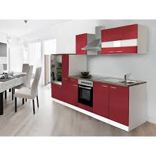 respekta küchenzeile ohne e geräte 300 cm rot weiß