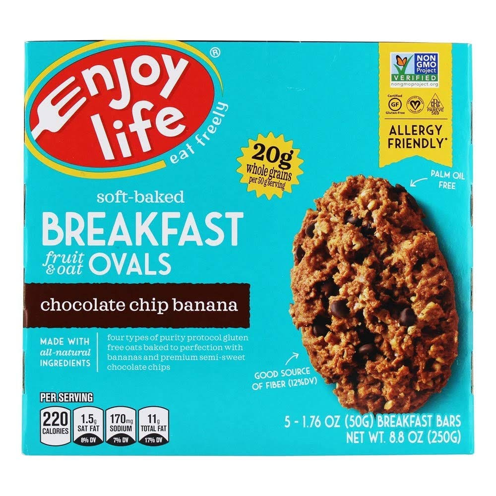 Enjoy Life Breakfast Bars, Chocolate Chip Banana, Ovals - 5 pack, 1.76 oz bars