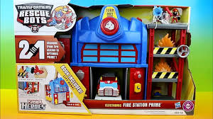 100 Rescue Bots Fire Truck Transformers Electronic Station Prime Optimus Prime