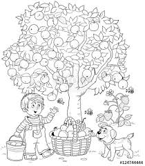A Cute Boy And His Puppy Picking Apples Basket Full