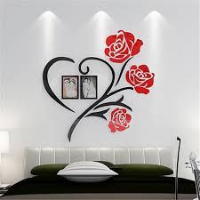 Love Heart Flowers Frame Painting 3D Crystal Acrylic Cheap Wall Stickers Bedroom Hangings Sticker Mural