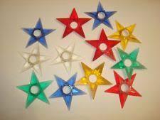 12 Vintage Hard Plastic Star Christmas Tree Light Reflectors PAT Date Of 1949