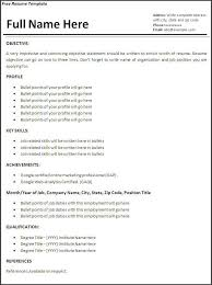 Sample Resume Templates Template Free Format