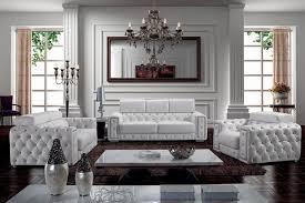 Zonka Tufted Leather Sofa Set Modern Living Room Furniture Sets Intended For Formal Designs 14