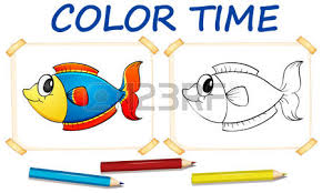 Game Fish Coloring Template With Cute Illustration