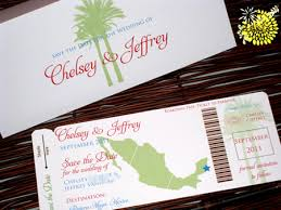 Mexico Boarding Pass Wedding Invitation