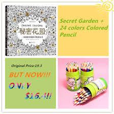 Cuaderno De Dibujo 12 24 Colores Color Lapiz Secret Garden Coloring Book Para Ninos O