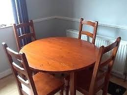 Solid Wood Round Dining Table Chairs Free On Collection In Dublin Thumbnail 2
