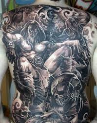 Attractive Viking Tattoo On Full Back