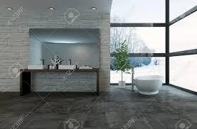 3d rendering großen spiegel auf dem tisch in der phantasie badezimmer mit großen fenstern mit blick auf verschneite landschaft