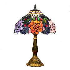 table ls 12 inch vintage pastoral gorgeous flowers stained glass style table l bedroom l bedside l gold