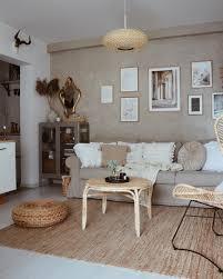 stylish beige living room posters gallery wall oak frames