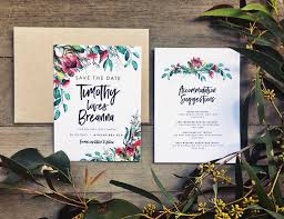 Australia Australian Native Floral Flower Greenery Gum Leaves Protea Bottlebrush Wattle Rustic Backyard Save The Date Bohemian InvitationWedding