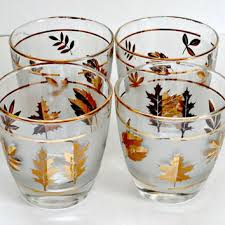 Vintage Set Of Four Madmen Style Lowball Whiskey Glasses With Autumn Leaf Motif And Gold Trim