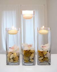 DIY Home Decor Vases With Floating Candles And Flowers Center Piece Hot Glue The To Bottom Of Vase Add Stones Fill Water