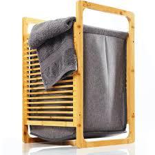 bambuswald ökologischer wäschesammler aus bambus herausnehmbare faltbox aus stoff regal für bad schlafzimmer ca 60x40x35cm wäschekorb