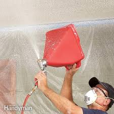 Using A Paint Sprayer For Ceilings by How To Texture A Ceiling Apply Knockdown U2014 The Family Handyman